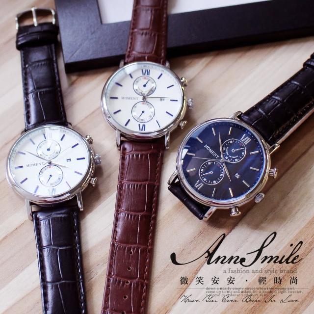 【微笑安安】MOMENT帥氣仿雙眼日期可顯示真皮錶帶男款手錶(2色)