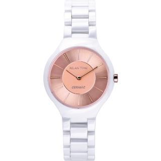 【Relax Time】RT33 嶄新系列陶瓷腕錶-玫瑰金x白/32mm(RT-33-12L)