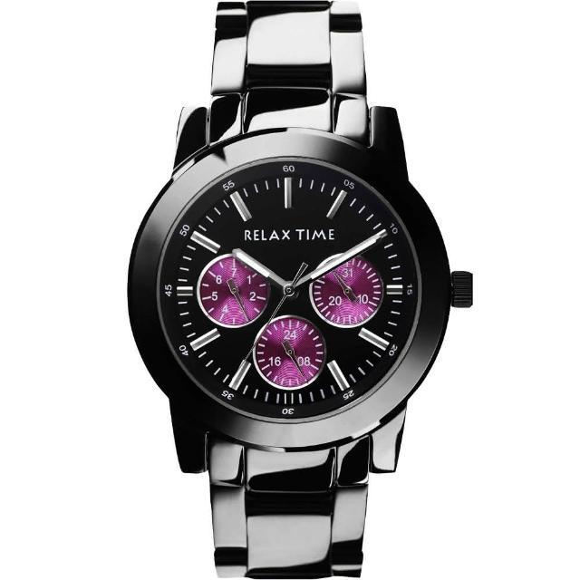 【Relax Time】炫彩中性日曆腕錶-紫x黑/38mm(R0800-16-03)
