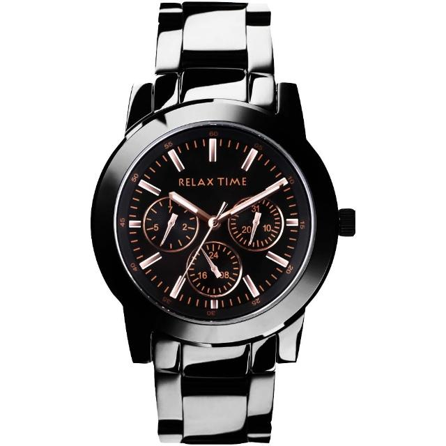 【Relax Time】時尚達人日曆顯示腕錶-IP黑x玫塊金時標/38mm(R0800-16-10)