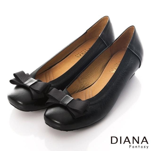 【DIANA】復古原味-萌漾蝴蝶結方圓頭牛皮娃娃鞋(黑)