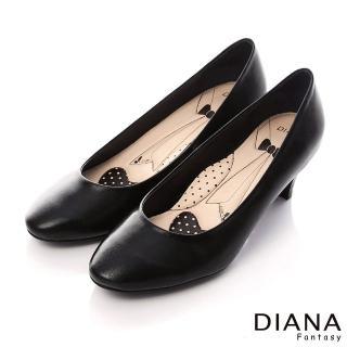 【DIANA】漫步雲端領帶款B--第一代素面真皮制鞋(黑)