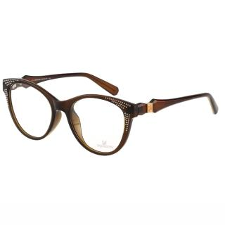【SWAROVSKI】-貓眼水鑽 光學眼鏡SW4075(咖啡色)