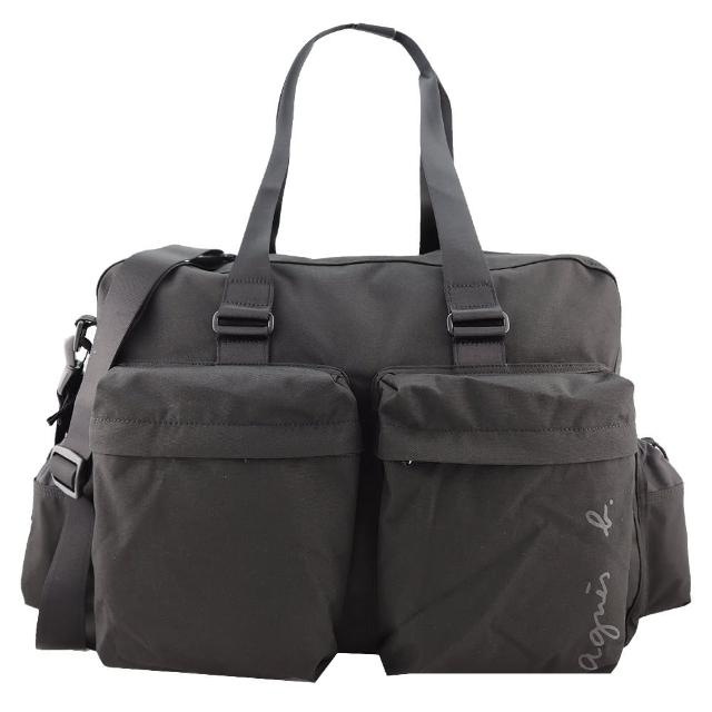 【agnes b.】簽名版帆布大旅行袋(黑)