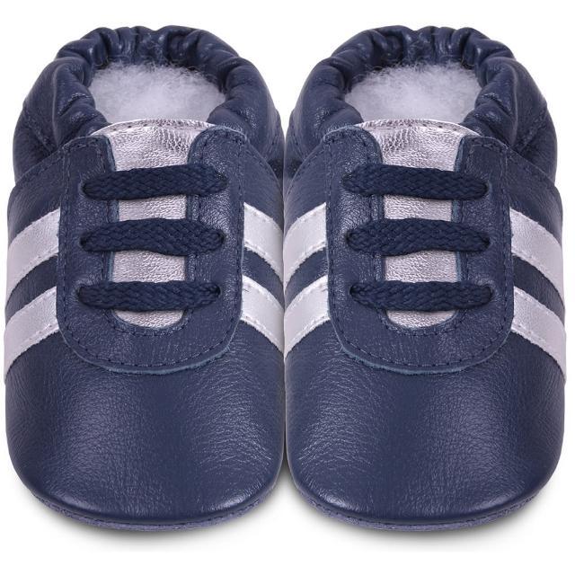 【英國 shooshoos】安全無毒真皮手工鞋/學步鞋_海軍藍銀鞋帶運動型_101072(適合爬行、搖晃學習走路寶寶)