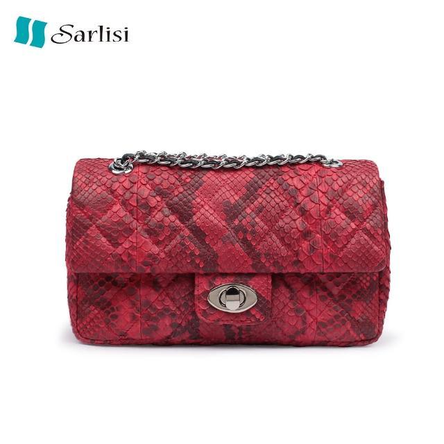 【Sarlisi】奢華蟒蛇背皮鍊帶包(3色可選)
