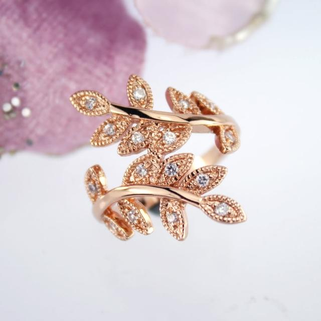 【xmono】玫瑰金色樹葉紋身晶鑽戒指