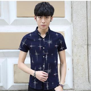 【NBL】T0568DB深藍色/W白色韓版+字印花純棉修身短襯衫(尺寸偏小請購買加大1碼)/