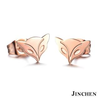 【JINCHEN】316L鈦鋼耳環一對價TEC-625(桃花狐狸/小資女孩必備/鋼針抗過敏)