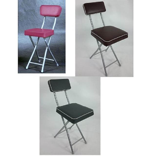 【BROTHER 兄弟牌】丹寧方型厚墊有背折疊椅灰色及桃紅色及咖啡色-1入(兄弟牌折疊椅)