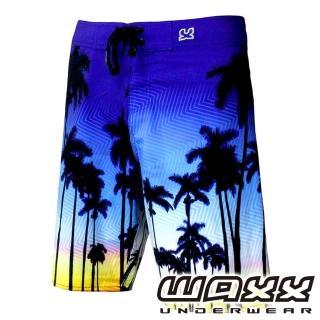 【WAXX】熱帶系列-晨曦棕梠樹吸濕排汗男性21英吋海灘衝浪短褲(藍色)