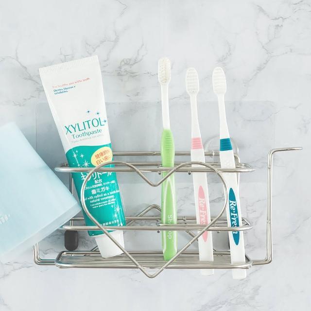 【樂活主義】新魔力霧面無痕貼系列-304不鏽鋼大容量愛心牙刷架