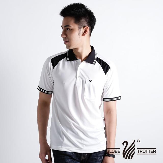 【遊遍天下】男款抗UV涼爽吸濕排汗機能POLO衫NS005白黑(XS-2L)