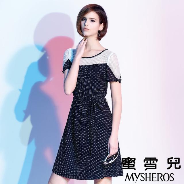 【蜜雪兒mysheros】復古點點繫帶洋裝(黑)