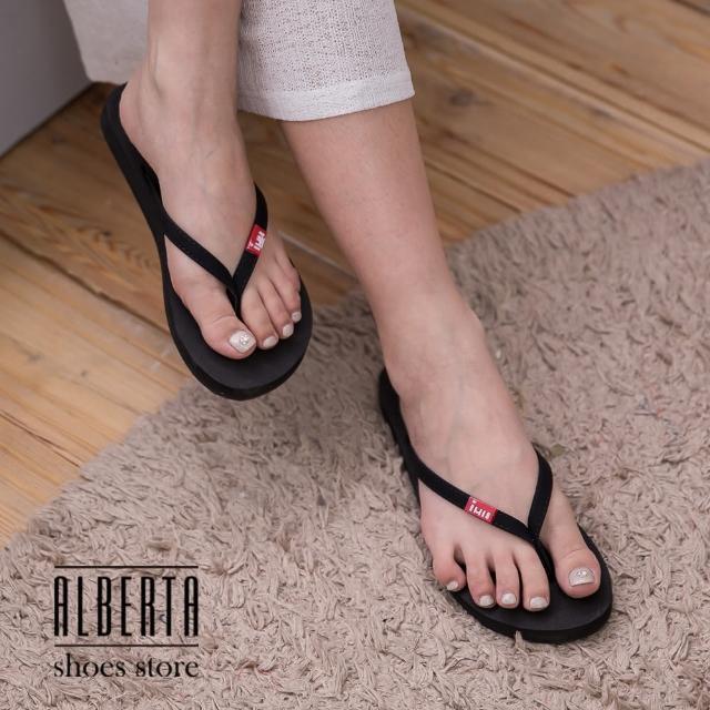 【Alberta】簡約設計麂皮質感 舒適不傷趾縫 好穿脫人字拖鞋 小厚底夾腳拖鞋(黑色)