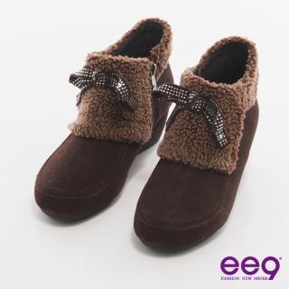 【ee9】完美時尚-璀燦水鑽異材質拼接踝靴*咖色(踝靴)