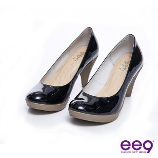 【ee9】彩虹甜心-進口羊皮亮漆百搭高跟鞋-經典黑(跟鞋)