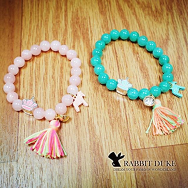 【Rabbit Duke】經典歐美風格 個性可愛粉嫩天然石小馬皇冠流蘇設計串珠手鍊
