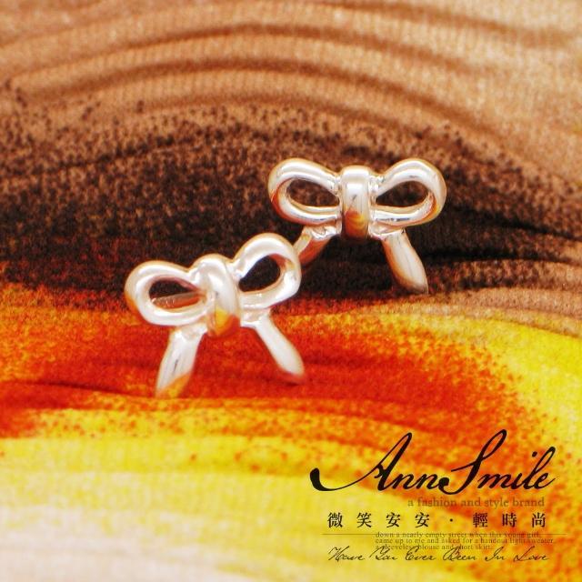 【微笑安安】鏤空蝴蝶結925純銀耳環