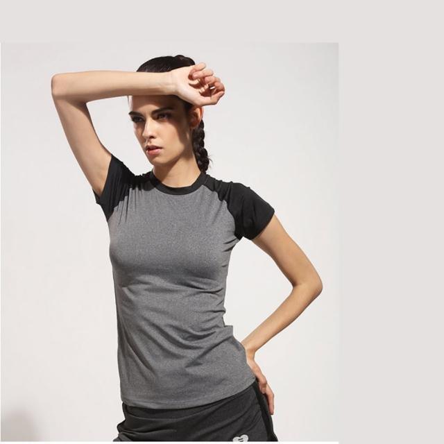 【狐狸姬】黑灰拼接運動短袖T恤速乾排汗運動衣(單上衣)