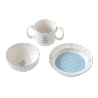 【SOULEIADO】甜蜜寶貝熊強化陶瓷3件餐具組(水藍)