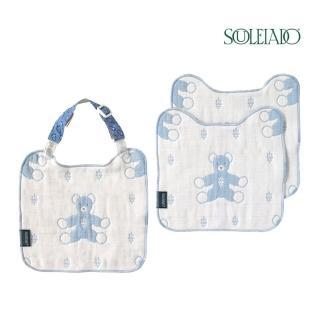 【SOULEIADO】六層紗普羅旺斯熊手帕夾組(水藍)