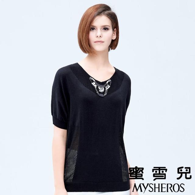 【蜜雪兒mysheros】手工縫珠圓領網格針織上衣(黑)