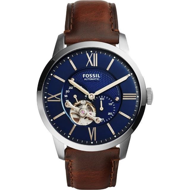 【FOSSIL】Townsman 爵士小鏤空機械錶-藍x咖啡/44mm(ME3110)