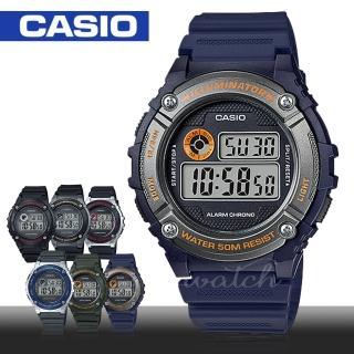 【CASIO 卡西歐】學生 中性錶 運動錶 數字電子錶 樹脂錶帶 秒錶 全自動日曆(W-216H)