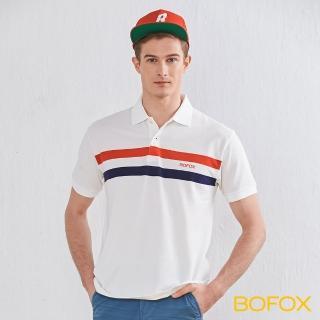 【BOFOX 寶狐】簡約雙色條紋POLO衫(白)