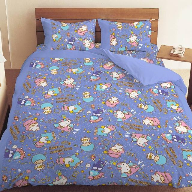 【享夢城堡】雙人床包薄被套四件式組(三麗鷗 55週年太空風-粉紅.藍紫)