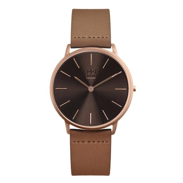 【ZOOM】THIN 極簡超薄腕錶(深棕 /42mm)