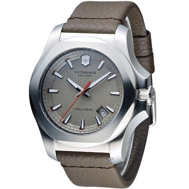 【Victorinox 維氏】INOX 軍事標準皮革腕錶(VISA-241738)