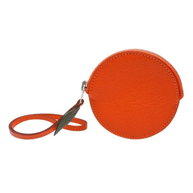 【HERMES】經典山羊皮橘子造型掛腕零錢包(橘色H070656CK-ORG)