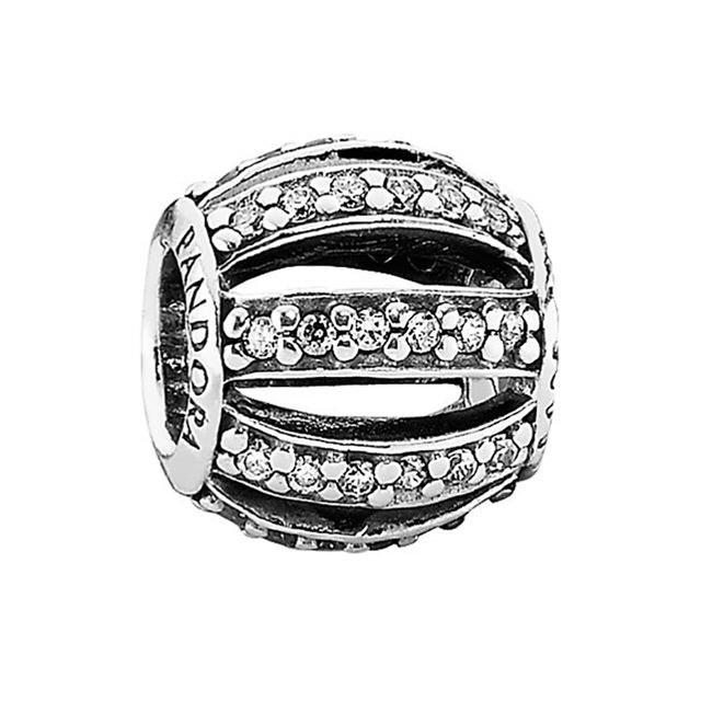 【Pandora】純淨透明鋯石裸空純銀墜飾串珠(791115CZ)