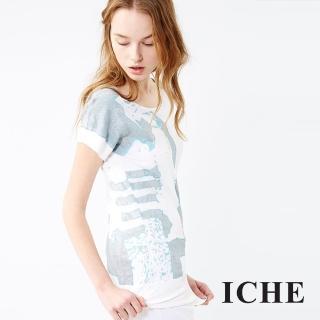 【ICHE 衣哲】水波紋印花針織上衣 兩色