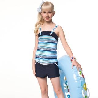 【SAIN SOU】泡湯SPA少女二件式連身褲泳裝(附泳帽A92651)