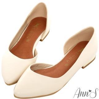 【Ann'S】成熟高雅-金跟側空尖頭平底包鞋(米白)