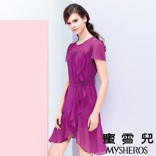 【蜜雪兒mysheros】雪紡荷葉繫帶洋裝(紫)