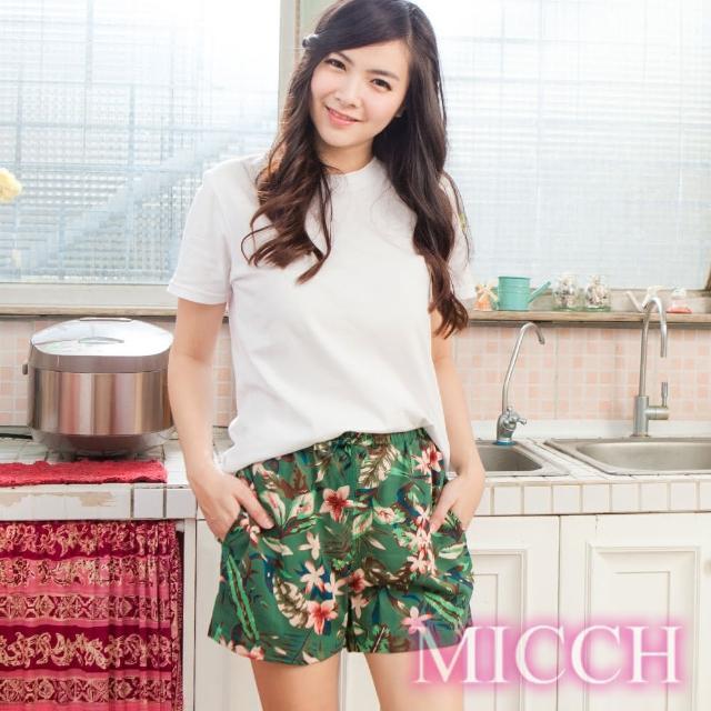 【MICCH】涼夏輕薄透氣 嫘縈棉柔 MIT休閒短褲(盛夏花彩)