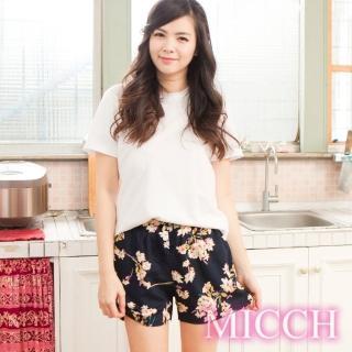【MICCH】涼夏輕薄透氣 嫘縈棉柔 MIT休閒短褲(清雅悠然)