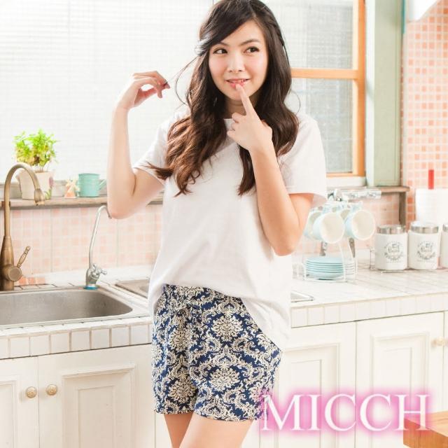 【MICCH】涼夏輕薄透氣 嫘縈棉柔 MIT休閒短褲(拂曉圖騰)