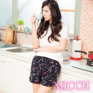 ~MICCH~涼夏輕薄透氣 嫘縈棉柔 MIT休閒短褲^(恬靜絮語^)