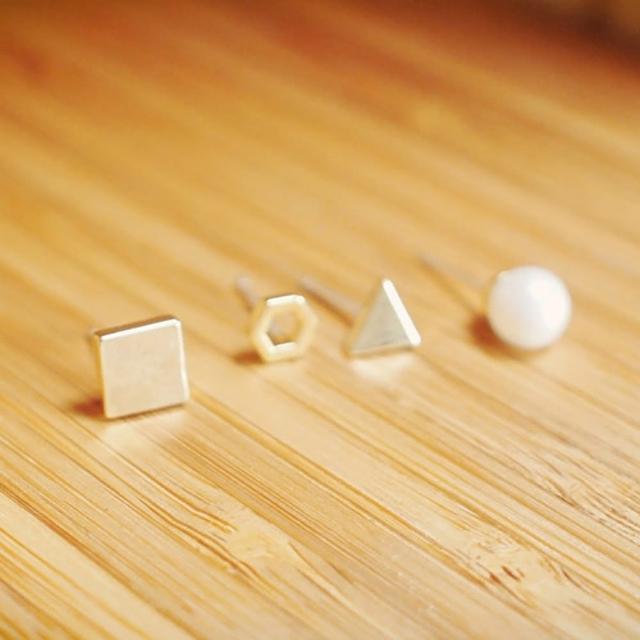 【RABBIT DUKE】個性線條三角珍珠鐵牌多款設計耳環