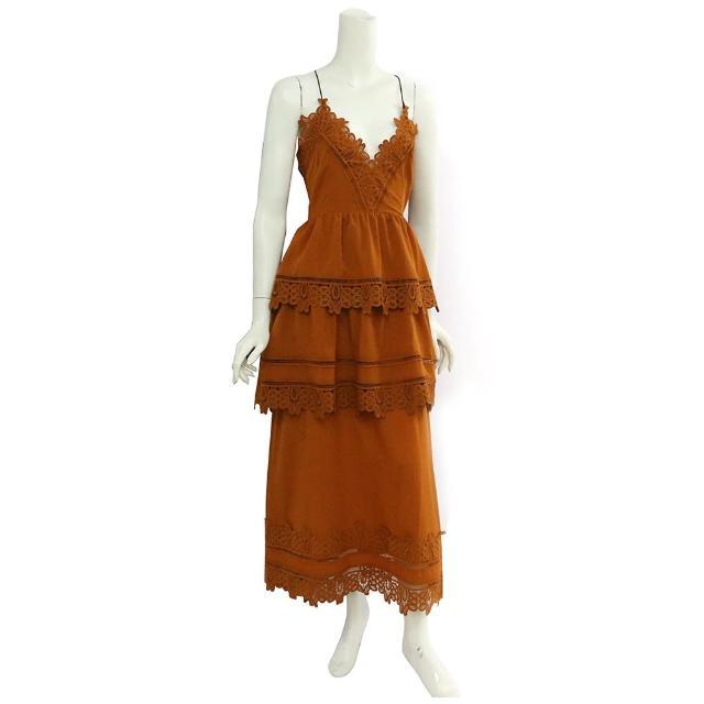 【SELF-PORTRAIT】細帶蕾絲層次長洋裝(橘色)