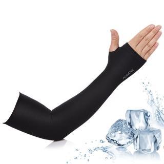 【活力揚邑】指孔涼感萊卡袖套防曬UPF50抗UV防蚊吸濕排汗自行車路跑登山臂套(個性黑)