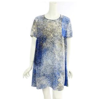 ~KENZO~ 點點絲質短袖洋裝^(藍白^)