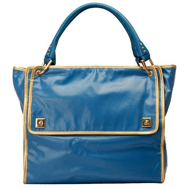 【MARC JACOBS】質感PVC金色小牛皮飾邊方形手提/肩背包(水藍色391038-W92-BLUE)