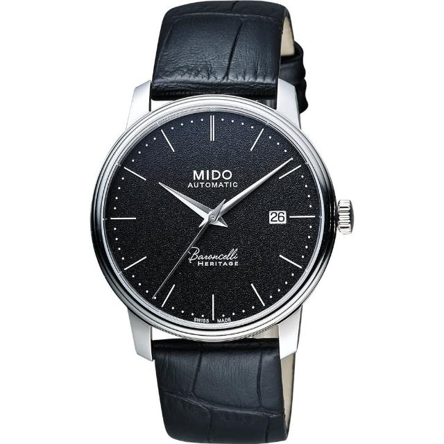 【MIDO】Baroncelli III Heritage 復刻經典機械腕錶-黑/41mm(M0274071605000)