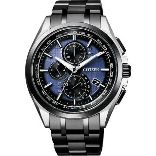 【CITIZEN】光動能40週年限量鈦電波計時錶-藍x黑/42mm(AT8044-72L)